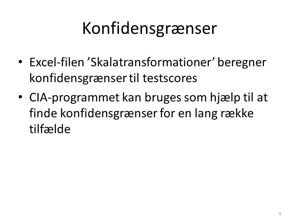Konfidensgrænser Excel-filen 'Skalatransformationer' beregner konfidensgrænser til testscores.