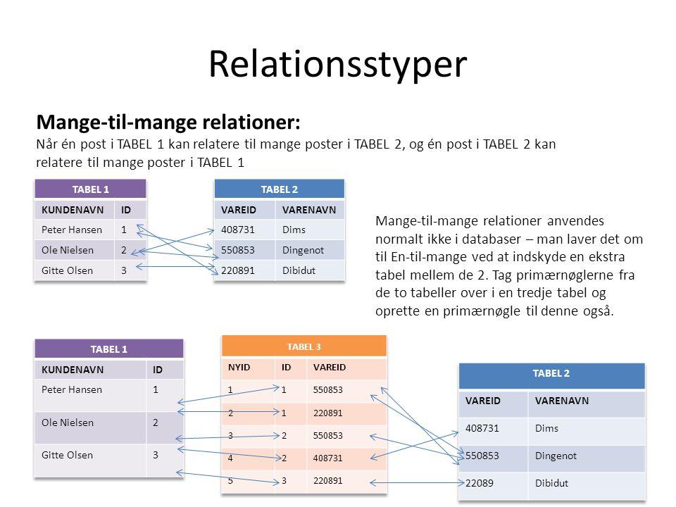 Relationsstyper Mange-til-mange relationer: