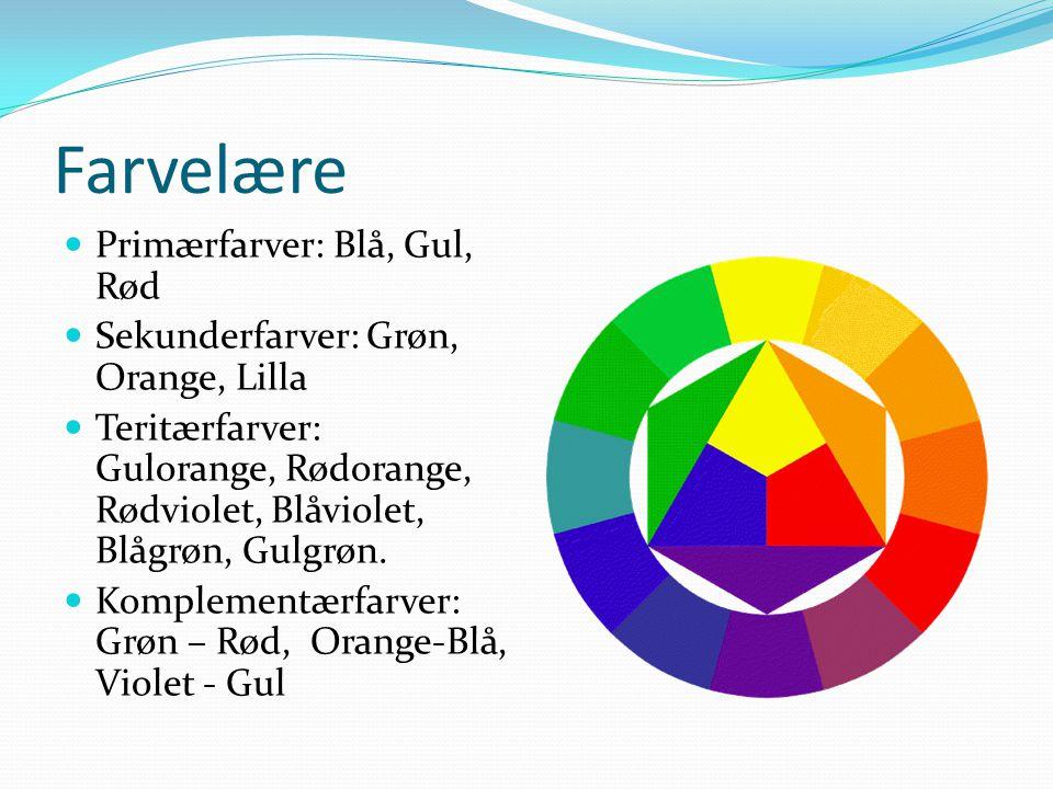 Farvelære Primærfarver: Blå, Gul, Rød