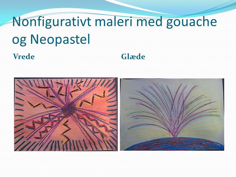 Nonfigurativt maleri med gouache og Neopastel
