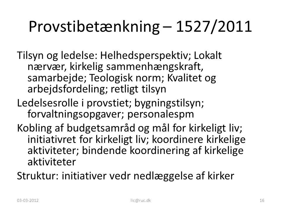 Provstibetænkning – 1527/2011