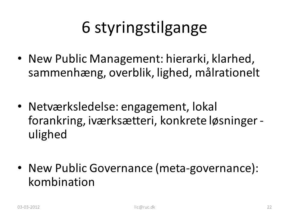 6 styringstilgange New Public Management: hierarki, klarhed, sammenhæng, overblik, lighed, målrationelt.