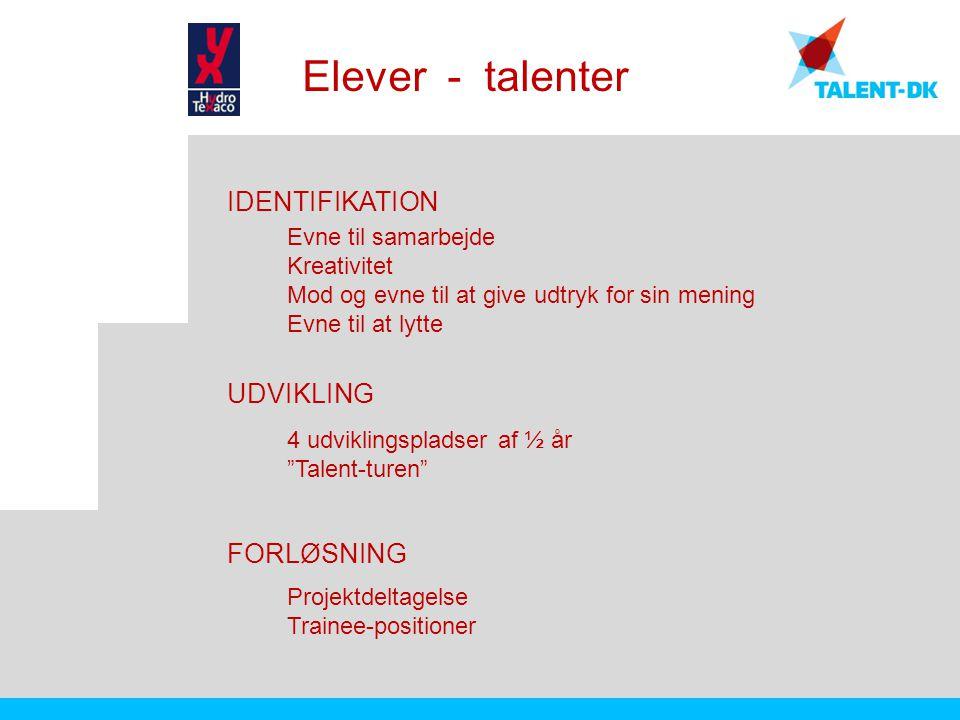 Elever - talenter IDENTIFIKATION UDVIKLING FORLØSNING