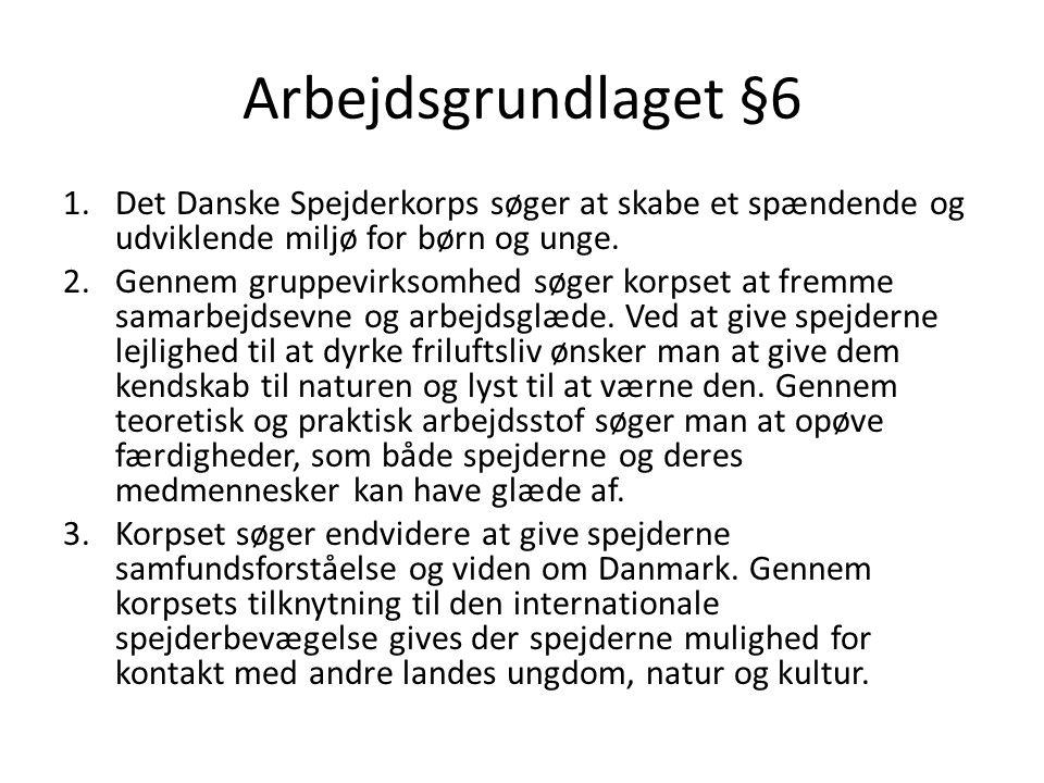 Arbejdsgrundlaget §6 Det Danske Spejderkorps søger at skabe et spændende og udviklende miljø for børn og unge.