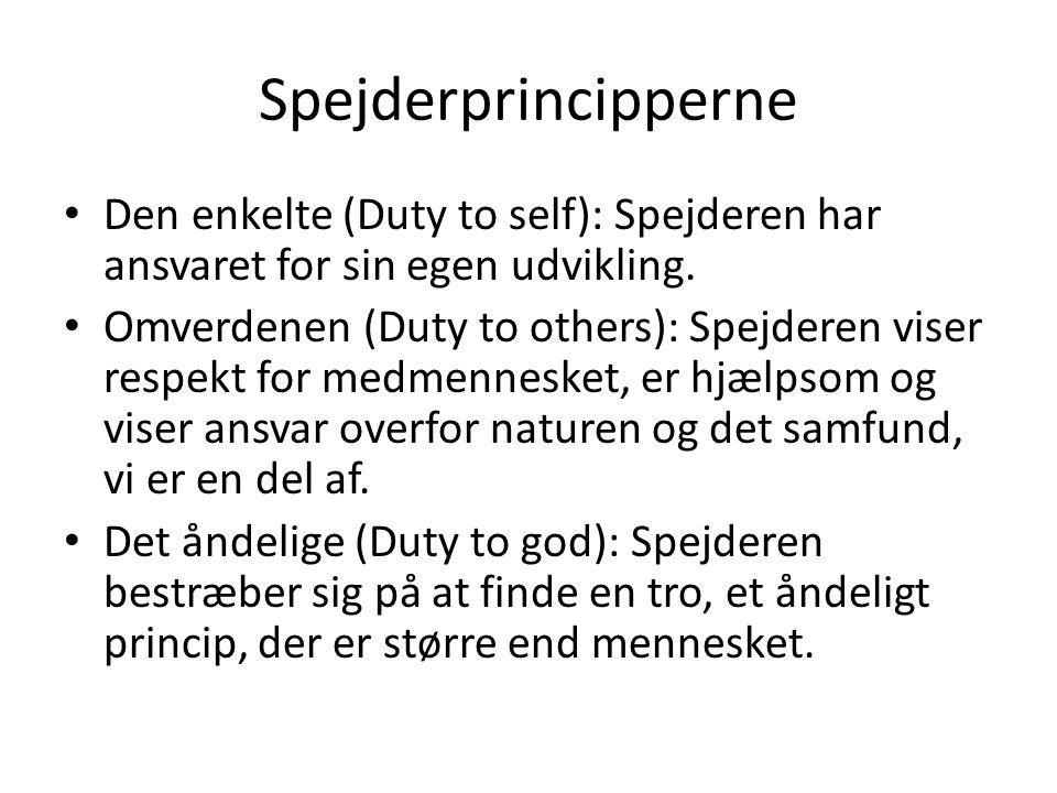 Spejderprincipperne Den enkelte (Duty to self): Spejderen har ansvaret for sin egen udvikling.