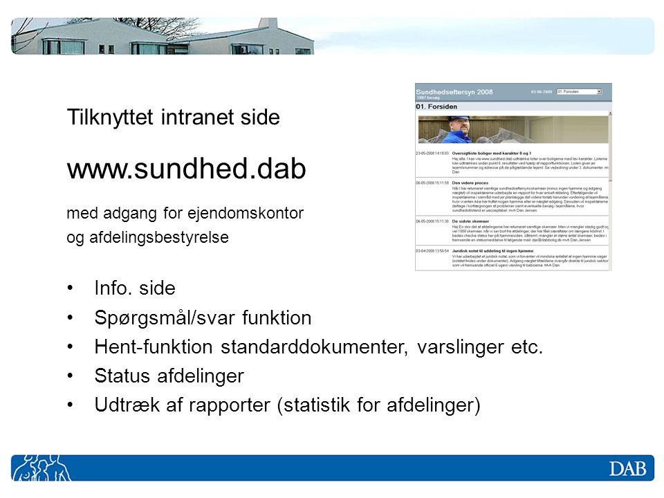 www.sundhed.dab Tilknyttet intranet side Info. side