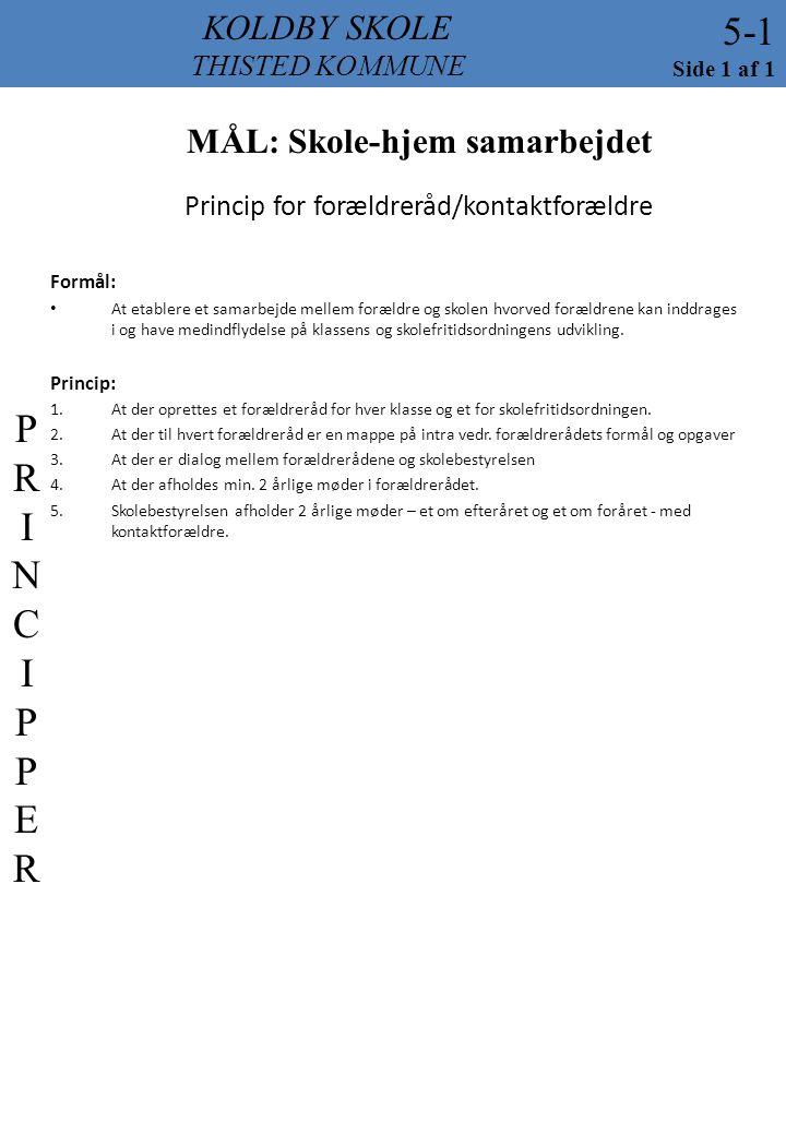 Princip for forældreråd/kontaktforældre