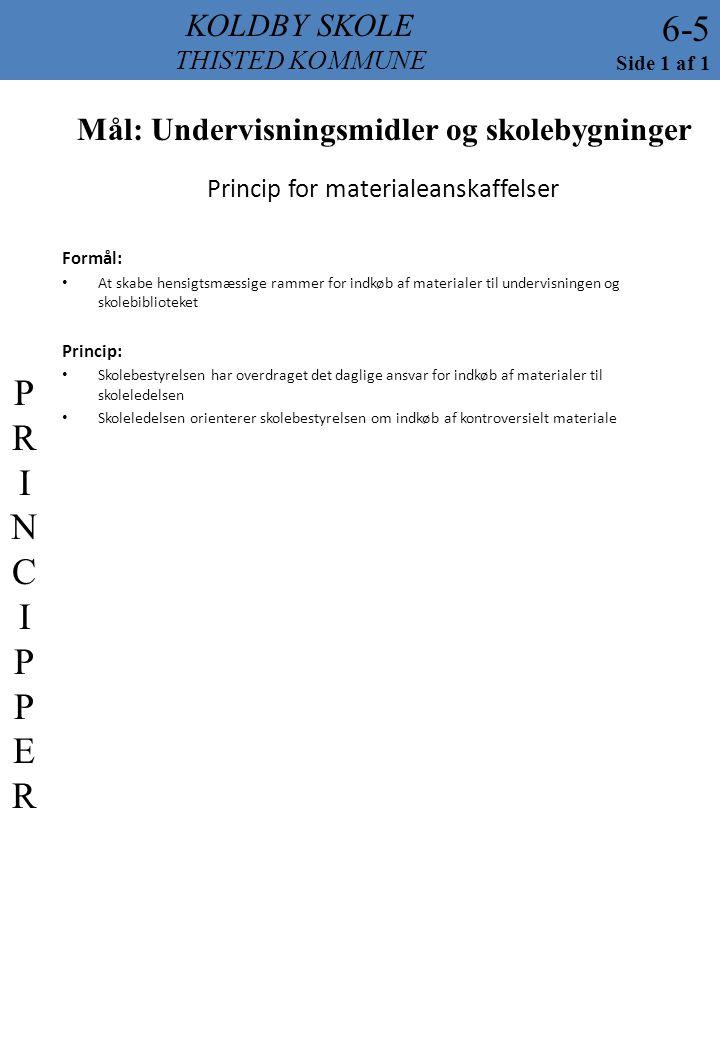 Princip for materialeanskaffelser