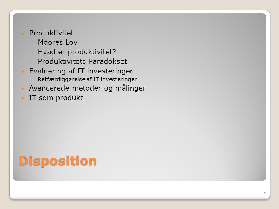 Disposition Produktivitet Moores Lov Hvad er produktivitet