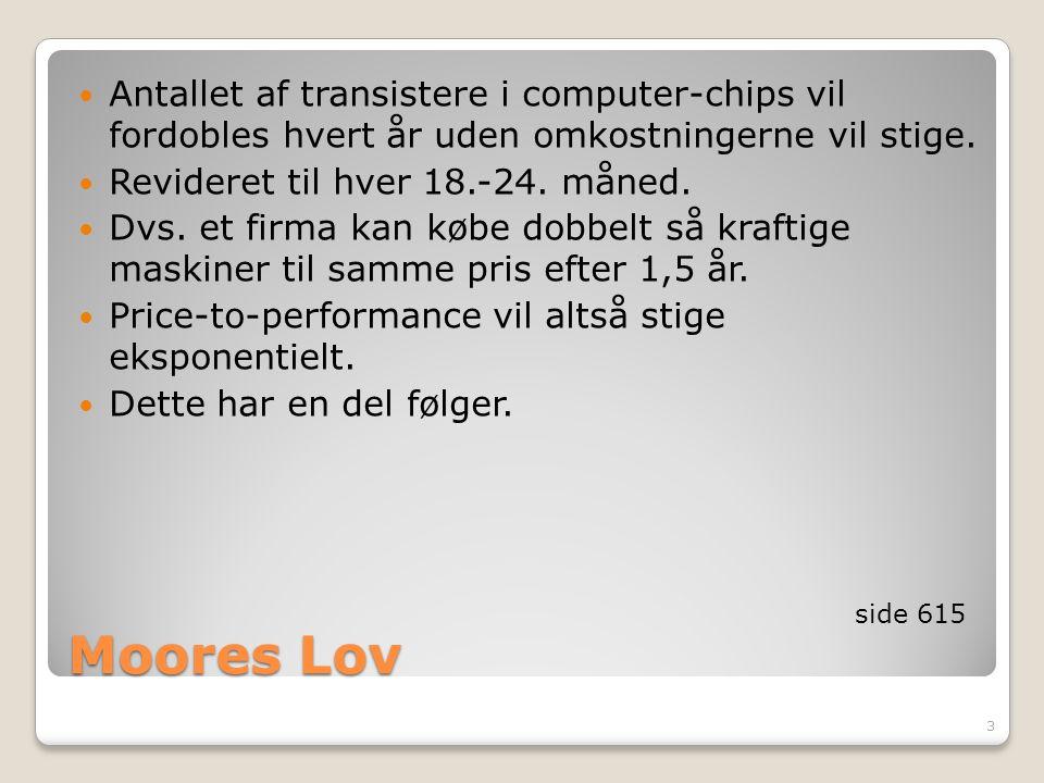 Antallet af transistere i computer-chips vil fordobles hvert år uden omkostningerne vil stige.