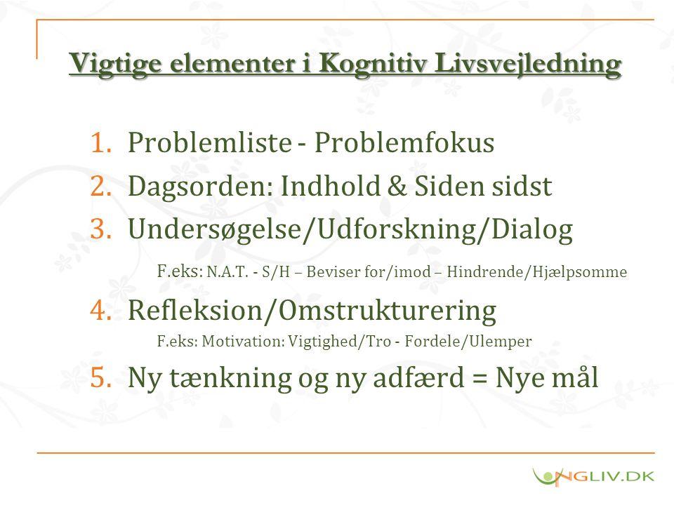 Vigtige elementer i Kognitiv Livsvejledning