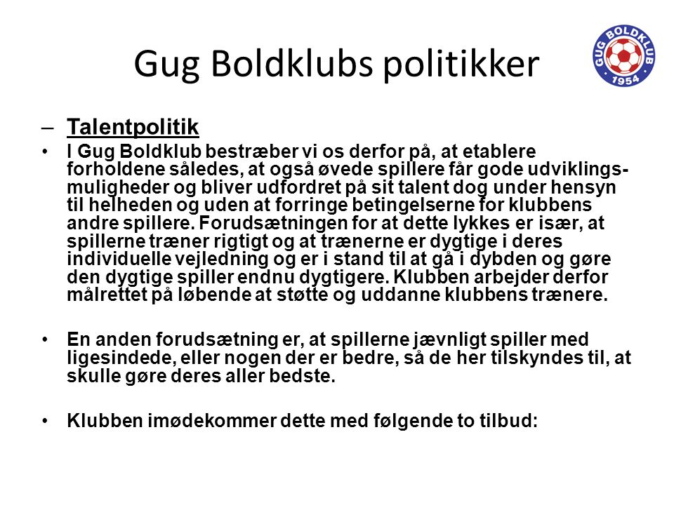 Gug Boldklubs politikker