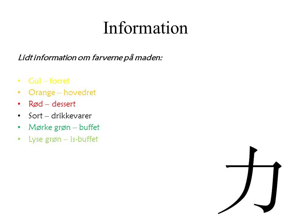 Information Lidt information om farverne på maden: Gul – forret
