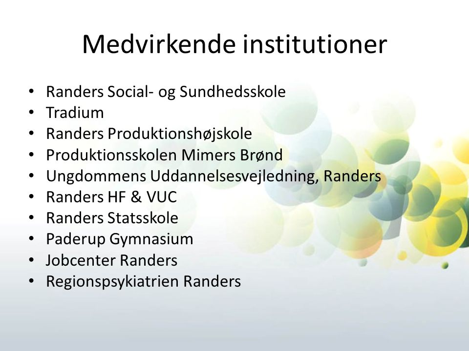 Medvirkende institutioner