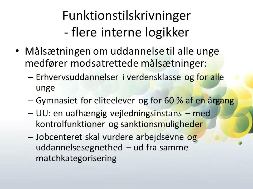 Funktionstilskrivninger - flere interne logikker