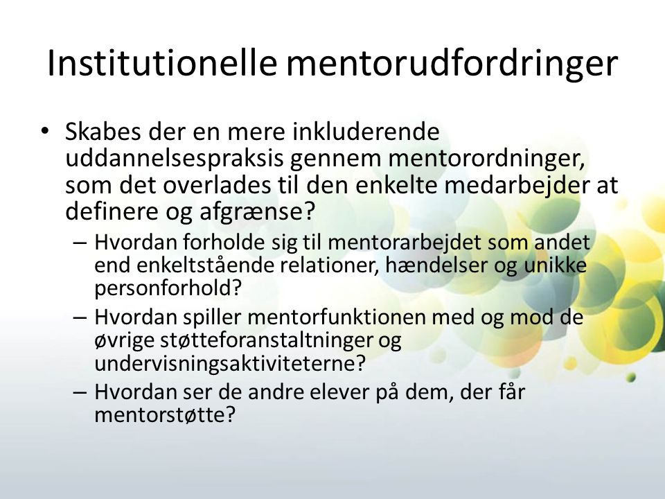 Institutionelle mentorudfordringer