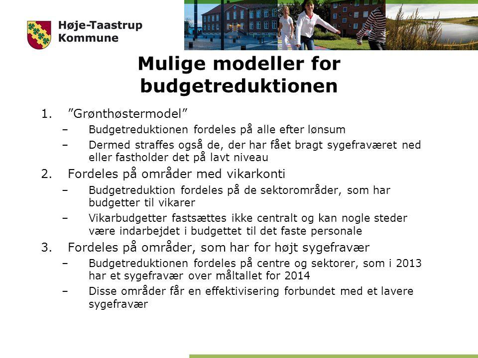 Mulige modeller for budgetreduktionen