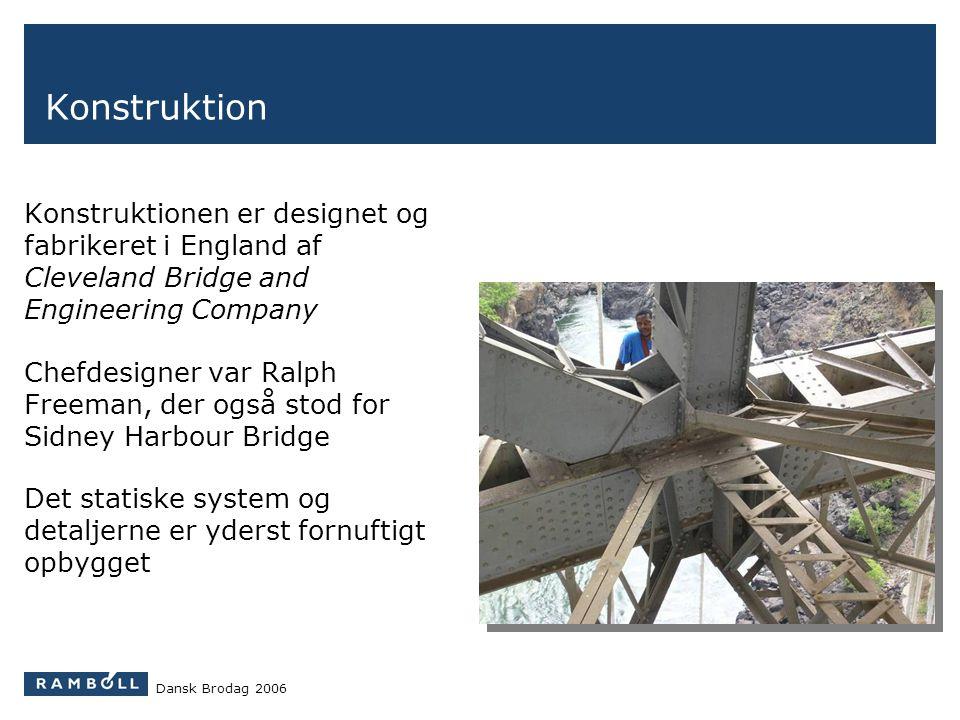 Konstruktion Konstruktionen er designet og fabrikeret i England af Cleveland Bridge and Engineering Company.