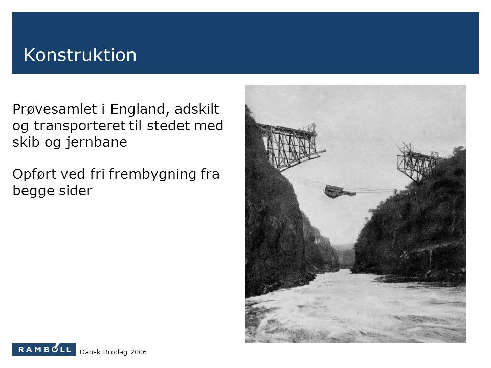 Konstruktion Prøvesamlet i England, adskilt og transporteret til stedet med skib og jernbane. Opført ved fri frembygning fra begge sider.
