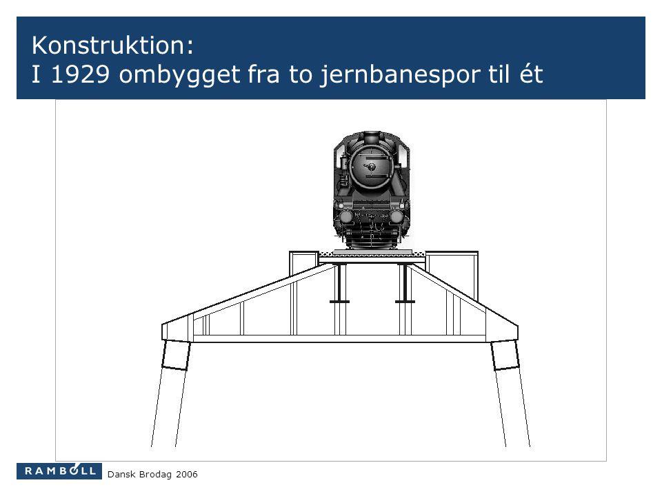 Konstruktion: I 1929 ombygget fra to jernbanespor til ét