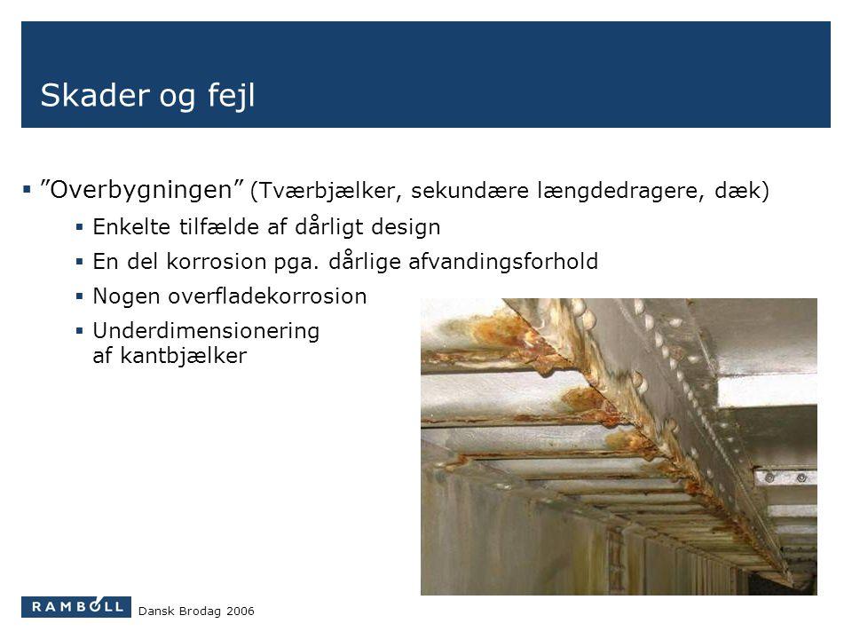Skader og fejl Overbygningen (Tværbjælker, sekundære længdedragere, dæk) Enkelte tilfælde af dårligt design.