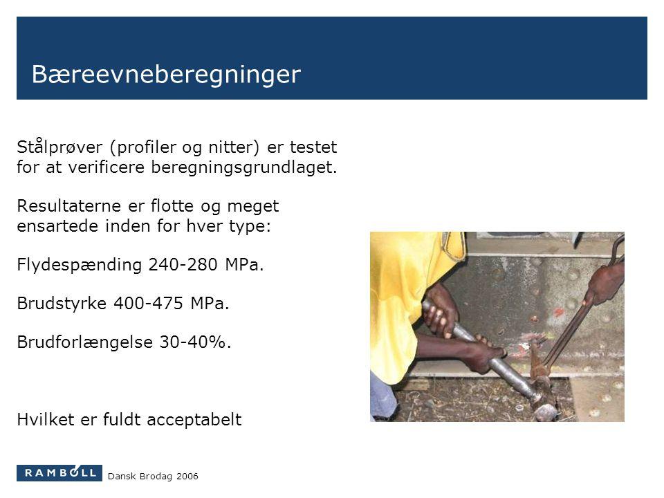 Bæreevneberegninger Stålprøver (profiler og nitter) er testet for at verificere beregningsgrundlaget.
