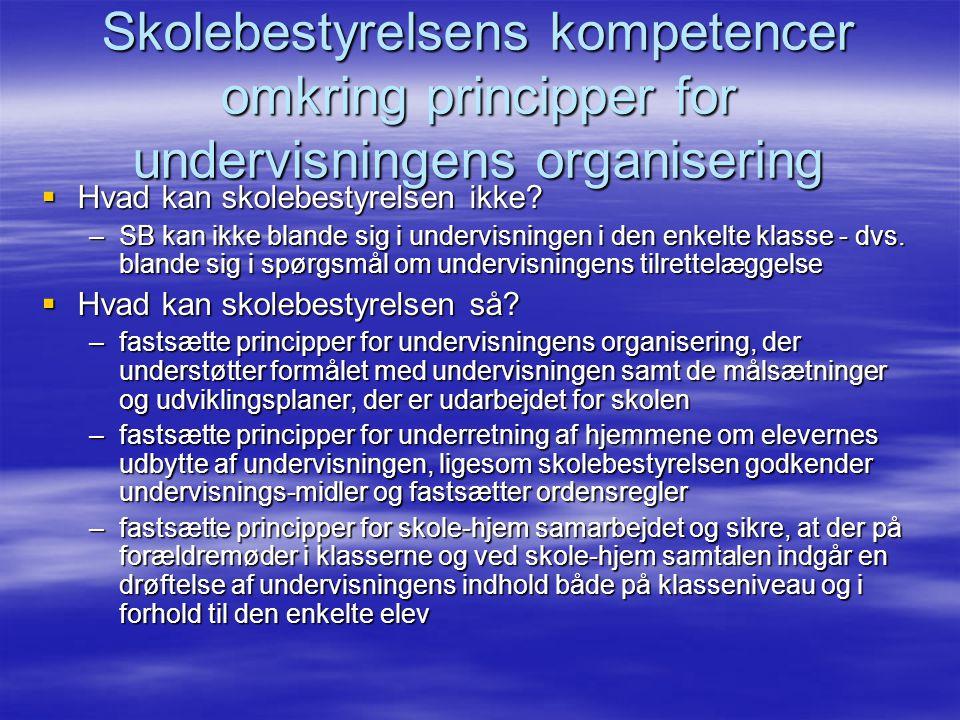 Skolebestyrelsens kompetencer omkring principper for undervisningens organisering