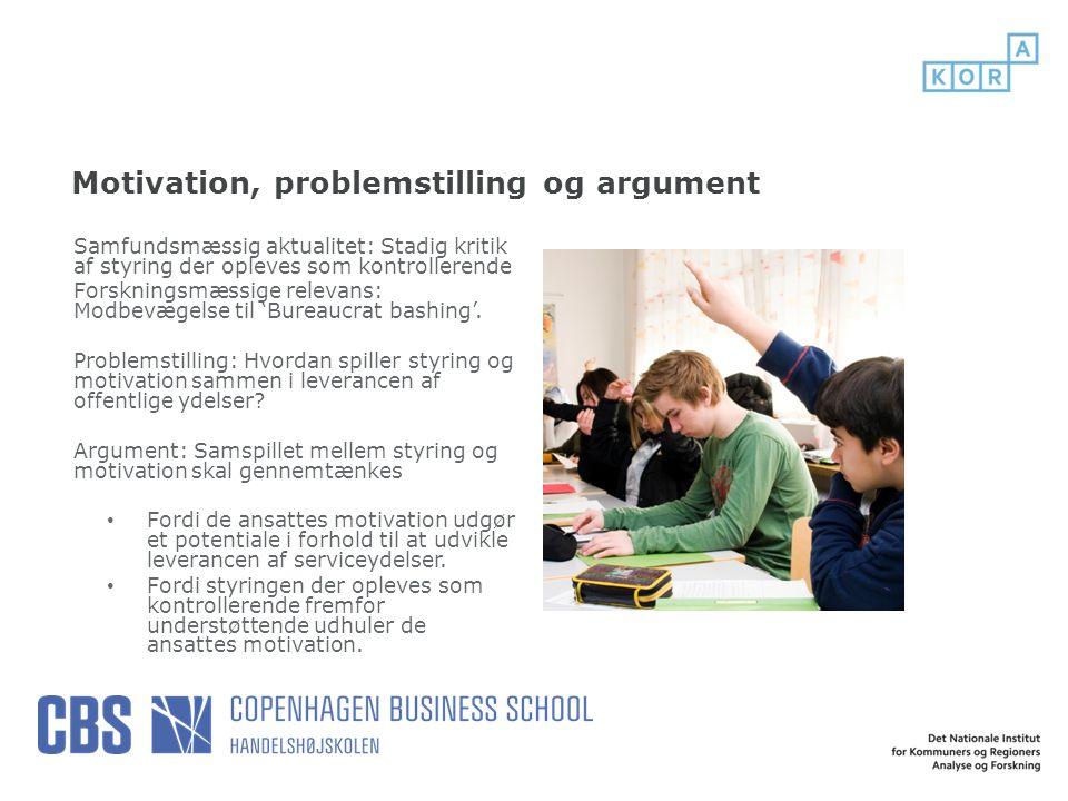 Motivation, problemstilling og argument