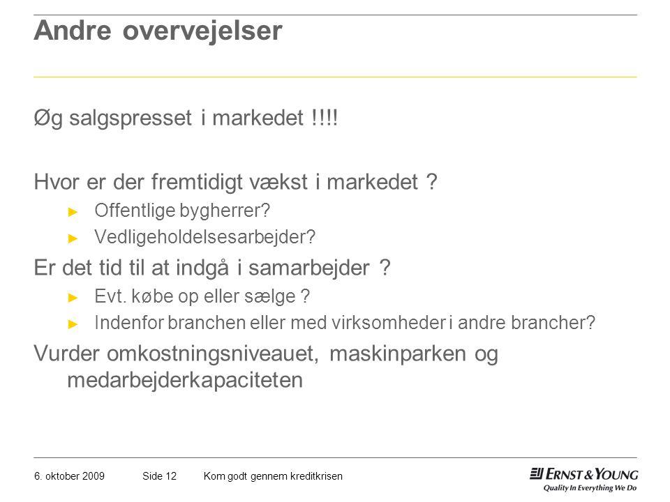 Andre overvejelser Øg salgspresset i markedet !!!!