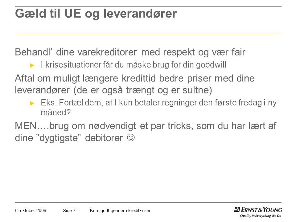 Gæld til UE og leverandører