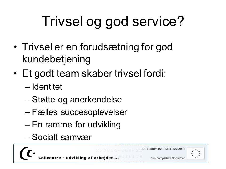 Trivsel og god service Trivsel er en forudsætning for god kundebetjening. Et godt team skaber trivsel fordi: