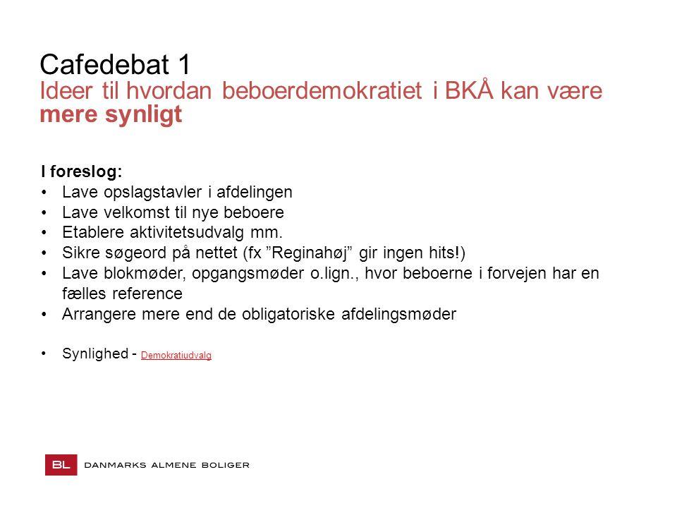 Cafedebat 1 Ideer til hvordan beboerdemokratiet i BKÅ kan være mere synligt. I foreslog: Lave opslagstavler i afdelingen.