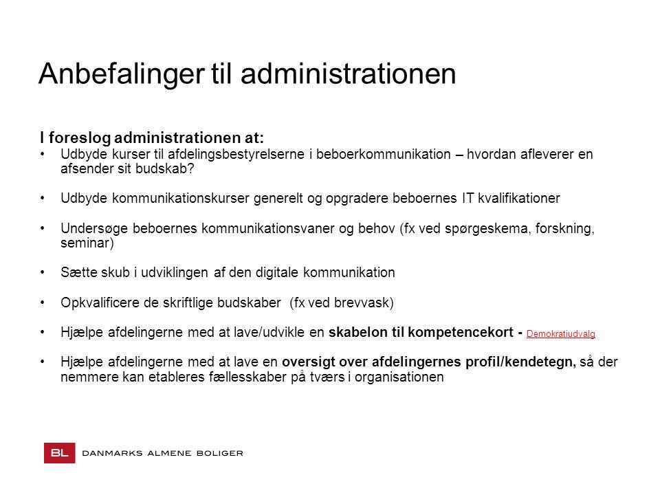 Anbefalinger til administrationen