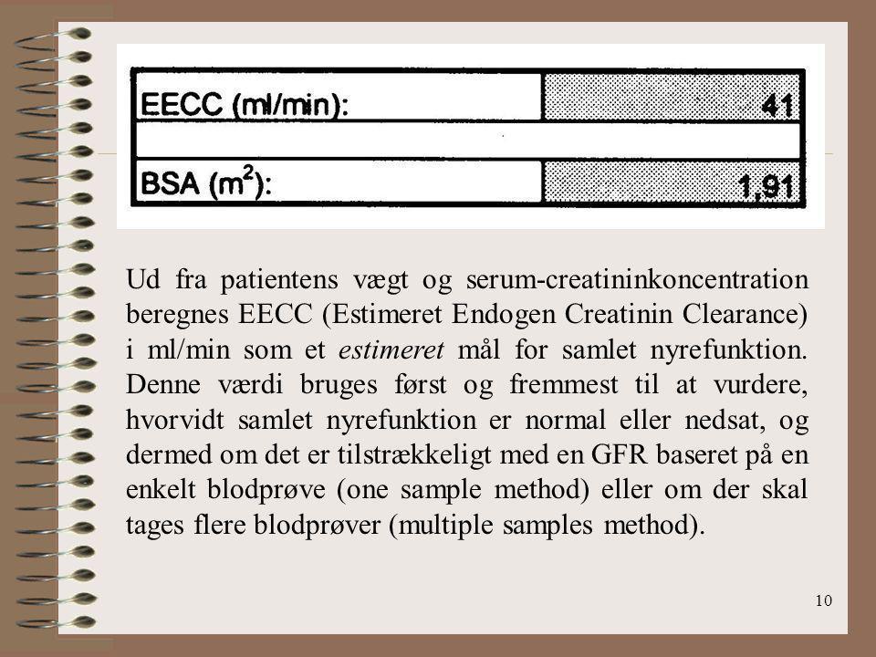 Ud fra patientens vægt og serum-creatininkoncentration beregnes EECC (Estimeret Endogen Creatinin Clearance) i ml/min som et estimeret mål for samlet nyrefunktion.