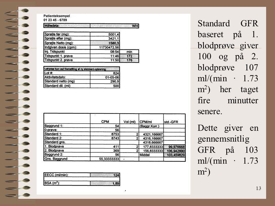 Standard GFR baseret på 1. blodprøve giver 100 og på 2