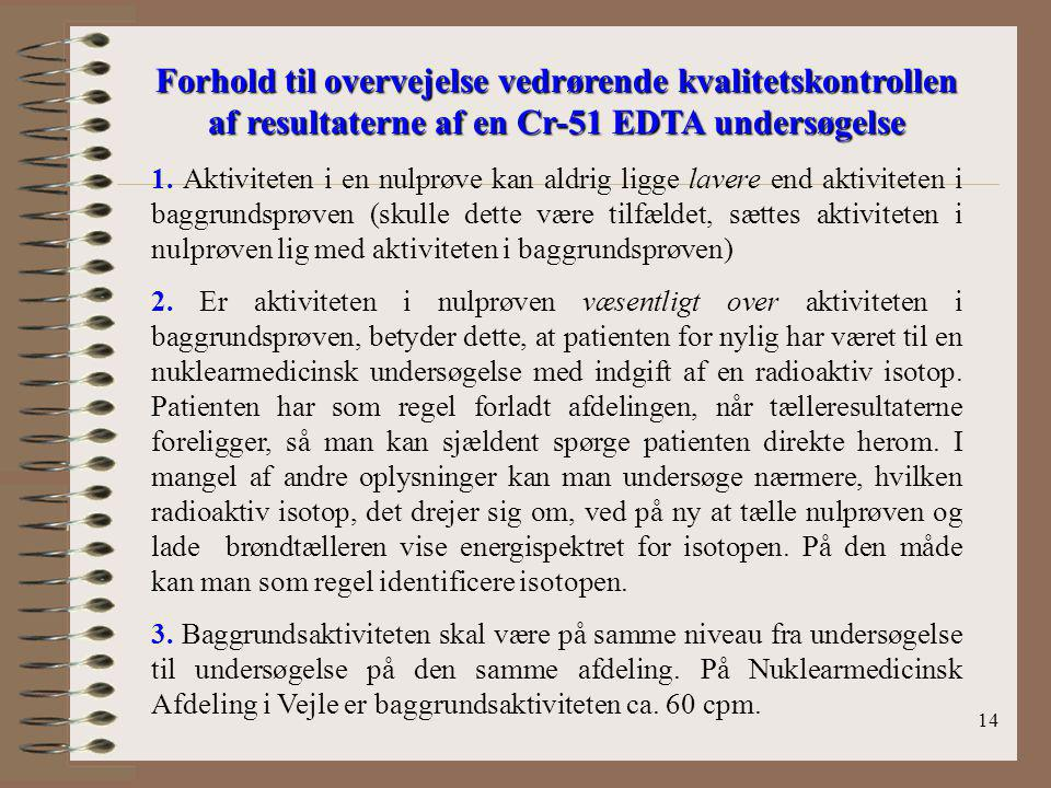 Forhold til overvejelse vedrørende kvalitetskontrollen af resultaterne af en Cr-51 EDTA undersøgelse
