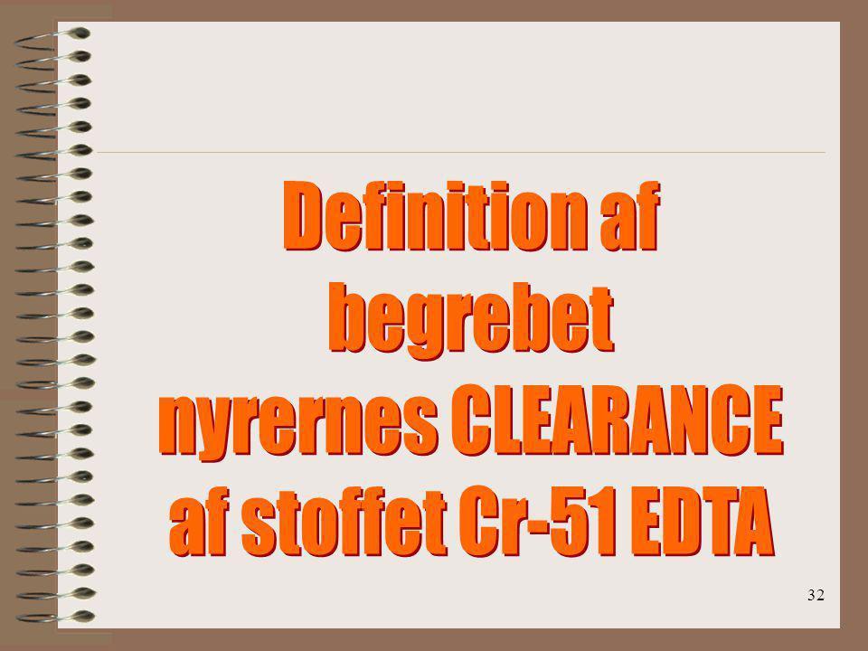 Definition af begrebet nyrernes CLEARANCE af stoffet Cr-51 EDTA