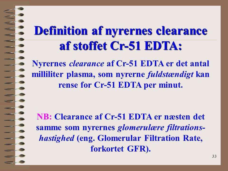 Definition af nyrernes clearance af stoffet Cr-51 EDTA: