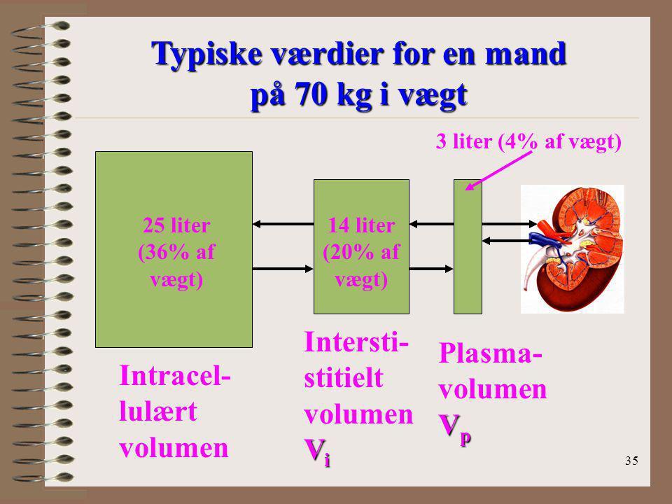 Typiske værdier for en mand på 70 kg i vægt