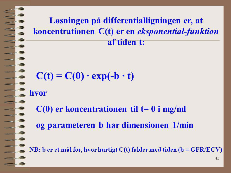 C(0) er koncentrationen til t= 0 i mg/ml