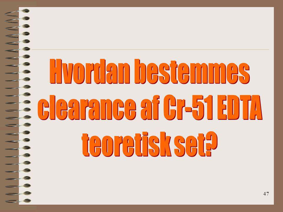 Hvordan bestemmes clearance af Cr-51 EDTA teoretisk set