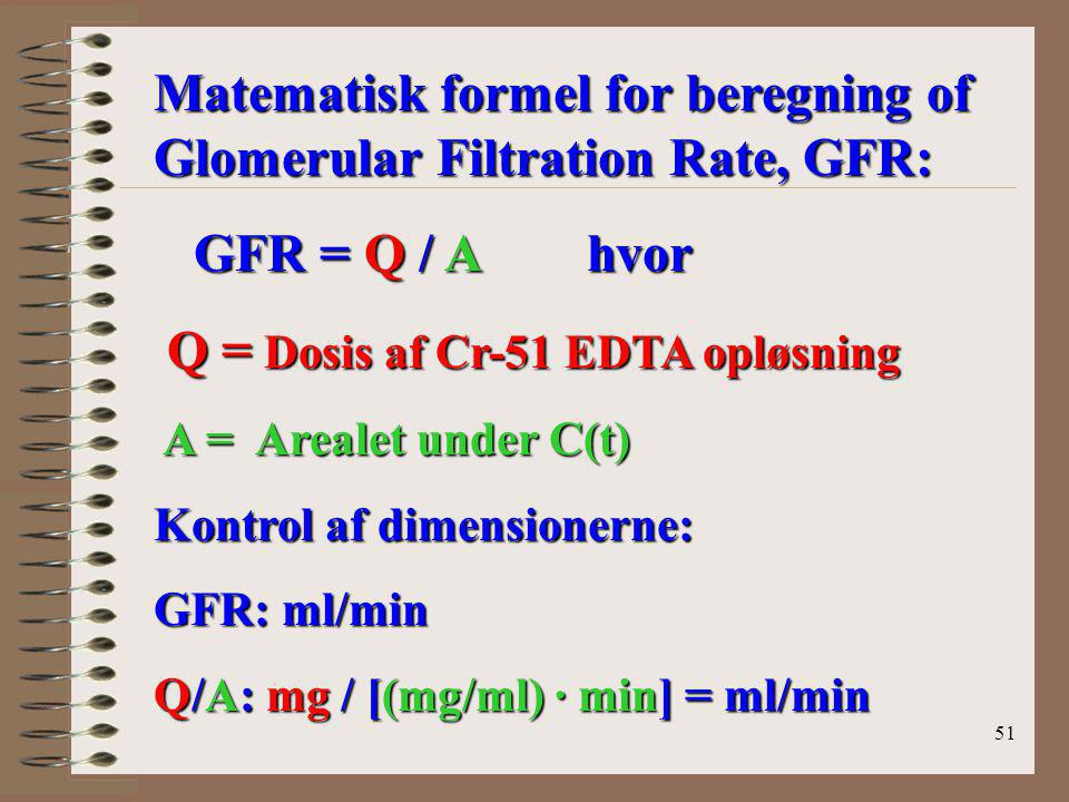Matematisk formel for beregning of Glomerular Filtration Rate, GFR: