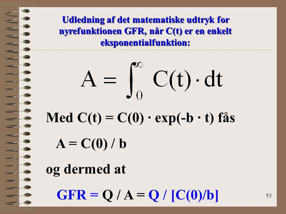 Med C(t) = C(0) · exp(-b · t) fås A = C(0) / b og dermed at