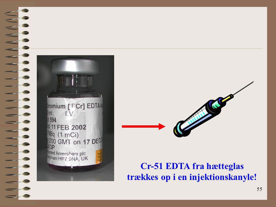 Cr-51 EDTA fra hætteglas trækkes op i en injektionskanyle!
