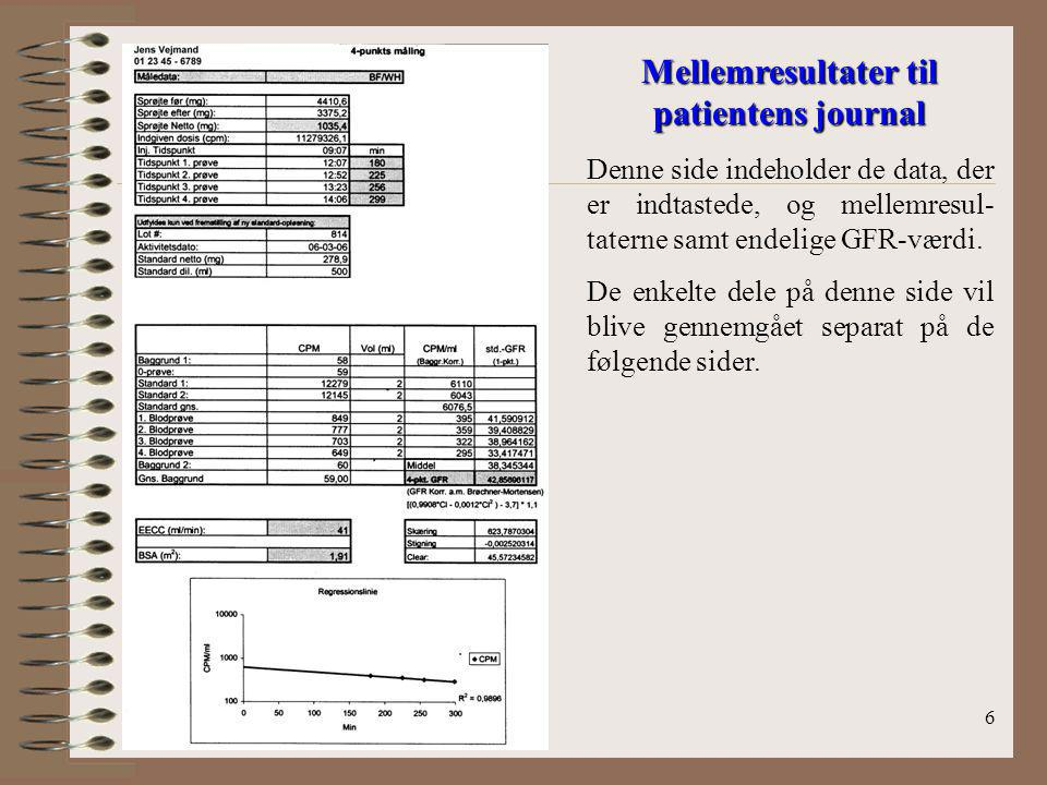 Mellemresultater til patientens journal