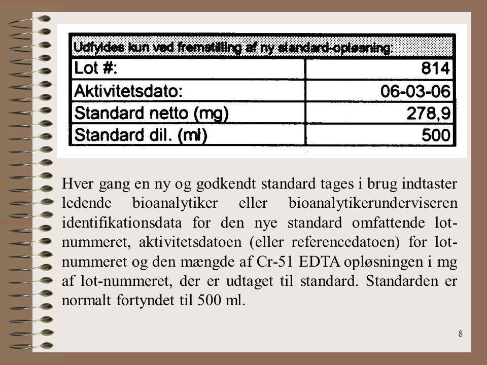 Hver gang en ny og godkendt standard tages i brug indtaster ledende bioanalytiker eller bioanalytikerunderviseren identifikationsdata for den nye standard omfattende lot-nummeret, aktivitetsdatoen (eller referencedatoen) for lot-nummeret og den mængde af Cr-51 EDTA opløsningen i mg af lot-nummeret, der er udtaget til standard.
