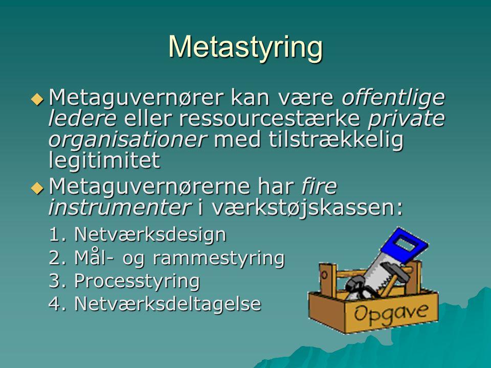 Metastyring Metaguvernører kan være offentlige ledere eller ressourcestærke private organisationer med tilstrækkelig legitimitet.