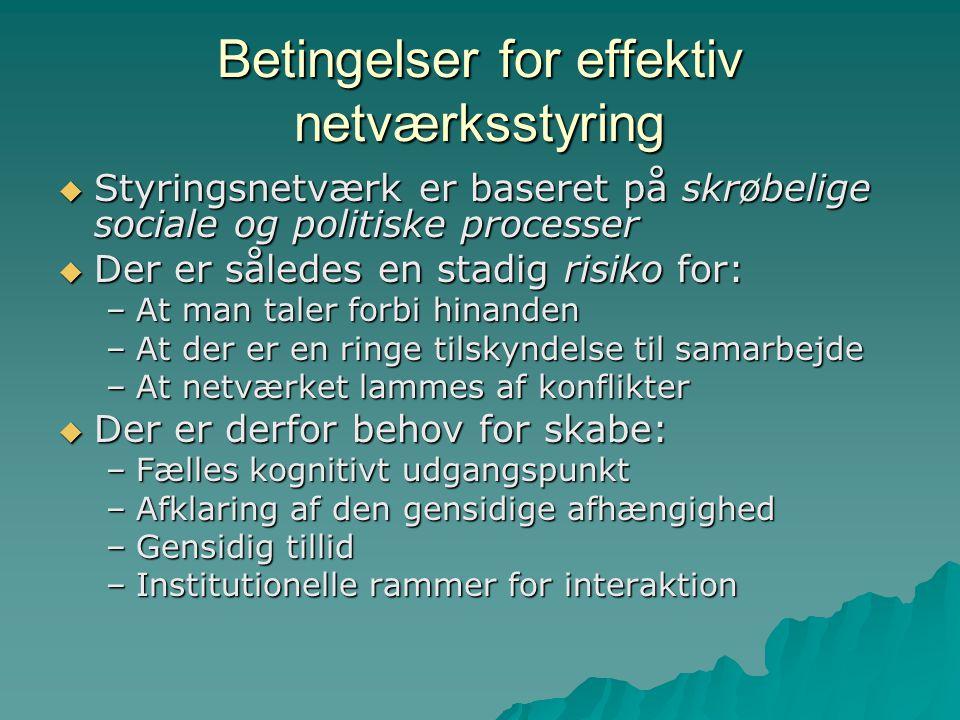 Betingelser for effektiv netværksstyring