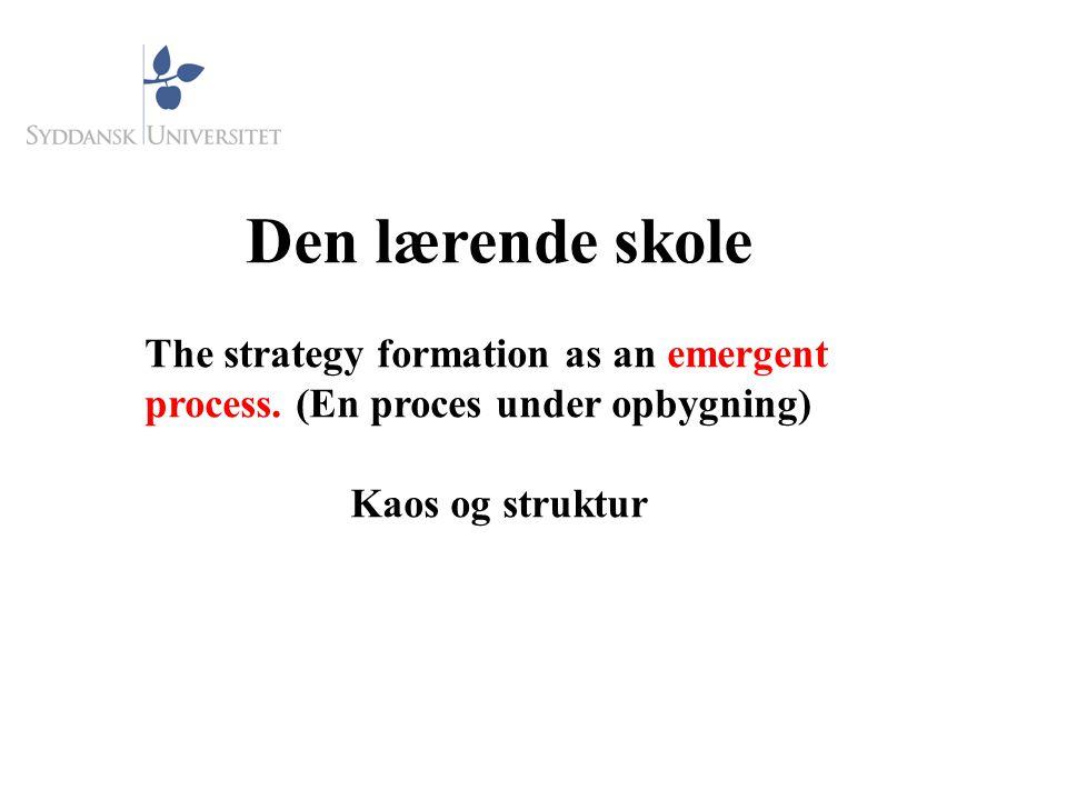 Den lærende skole The strategy formation as an emergent process. (En proces under opbygning) Kaos og struktur.
