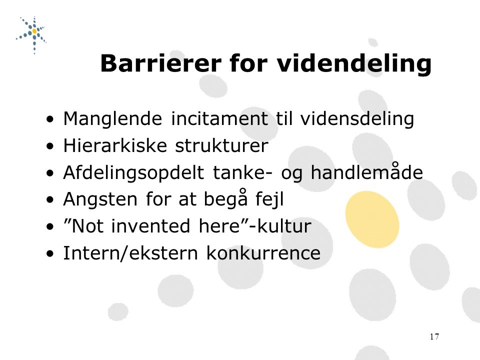 Barrierer for videndeling